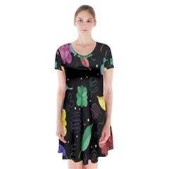 Colorful Floral Design Short Sleeve V Neck Flare Dress