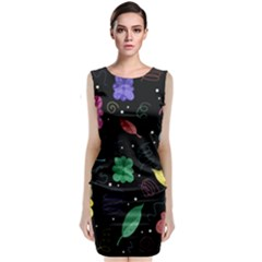 Colorful Floral Design Classic Sleeveless Midi Dress