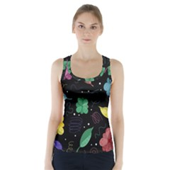 Colorful Floral Design Racer Back Sports Top