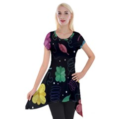 Colorful Floral Design Short Sleeve Side Drop Tunic