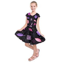 Purple and pink flowers  Kids  Short Sleeve Dress
