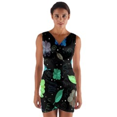 Blue And Green Flowers  Wrap Front Bodycon Dress