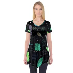 Blue And Green Flowers  Short Sleeve Tunic