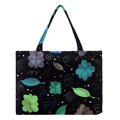 Blue And Green Flowers  Medium Tote Bag