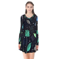 Blue And Green Flowers  Flare Dress