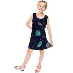 Blue And Green Flowers  Kids  Tunic Dress