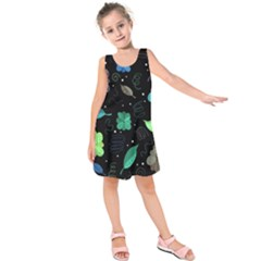 Blue And Green Flowers  Kids  Sleeveless Dress