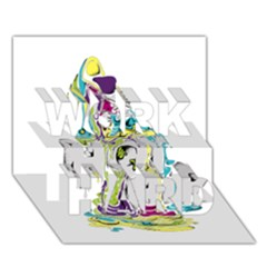 Hot Air Typography Work Hard 3d Greeting Card (7x5)