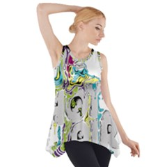 Hot Air Typography Side Drop Tank Tunic