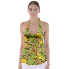 Autumn Flowers Babydoll Tankini Top