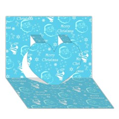 Santa Christmas Collage Blue Background Heart 3d Greeting Card (7x5)