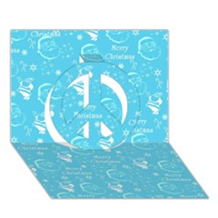 Santa Christmas Collage Blue Background Peace Sign 3d Greeting Card (7x5)