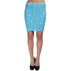 Santa Christmas Collage Blue Background Bodycon Skirt