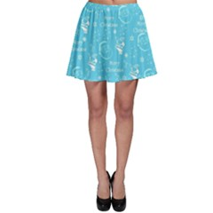 Santa Christmas Collage Blue Background Skater Skirt
