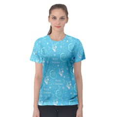 Santa Christmas Collage Blue Background Women s Sport Mesh Tee