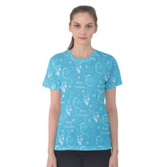 Santa Christmas Collage Blue Background Women s Cotton Tee