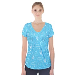 Santa Christmas Collage Blue Background Short Sleeve Front Detail Top