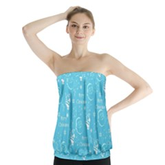 Santa Christmas Collage Blue Background Strapless Top