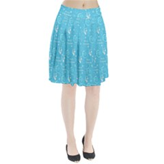 Santa Christmas Collage Blue Background Pleated Skirt