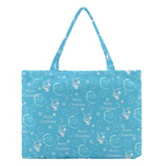 Santa Christmas Collage Blue Background Medium Tote Bag