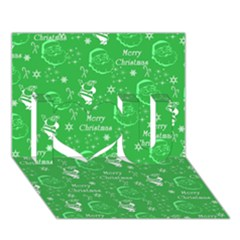 Santa Christmas Collage Green Background I Love You 3D Greeting Card (7x5)