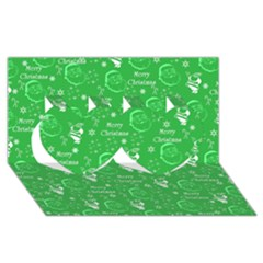 Santa Christmas Collage Green Background Twin Hearts 3d Greeting Card (8x4)