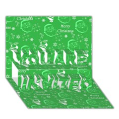 Santa Christmas Collage Green Background YOU ARE INVITED 3D Greeting Card (7x5)