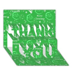 Santa Christmas Collage Green Background Thank You 3d Greeting Card (7x5)