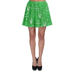 Santa Christmas Collage Green Background Skater Skirt