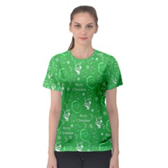 Santa Christmas Collage Green Background Women s Sport Mesh Tee