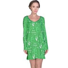 Santa Christmas Collage Green Background Long Sleeve Nightdress