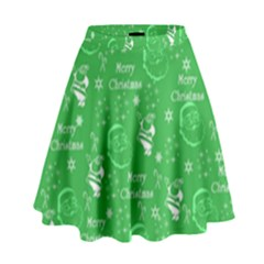 Santa Christmas Collage Green Background High Waist Skirt