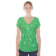 Santa Christmas Collage Green Background Short Sleeve Front Detail Top