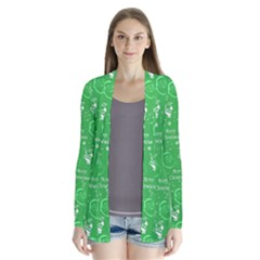 Santa Christmas Collage Green Background Cardigans