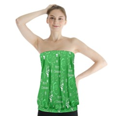 Santa Christmas Collage Green Background Strapless Top