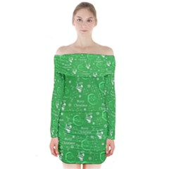 Santa Christmas Collage Green Background Long Sleeve Off Shoulder Dress