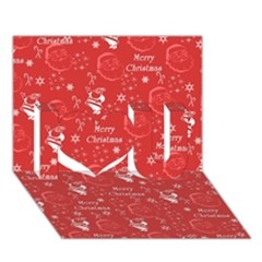 Santa Christmas Collage I Love You 3d Greeting Card (7x5)