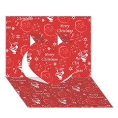 Santa Christmas Collage Heart 3d Greeting Card (7x5)