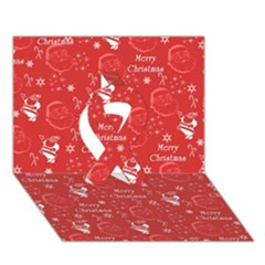Santa Christmas Collage Ribbon 3D Greeting Card (7x5)