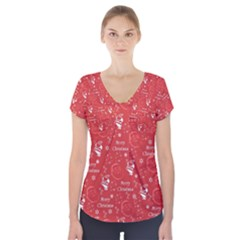 Santa Christmas Collage Short Sleeve Front Detail Top