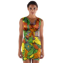 Decorative Flowers Wrap Front Bodycon Dress