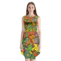 Decorative Flowers Sleeveless Chiffon Dress