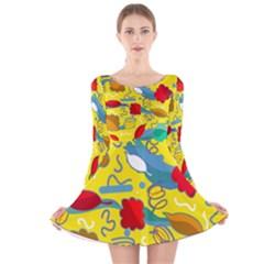 Weather Long Sleeve Velvet Skater Dress