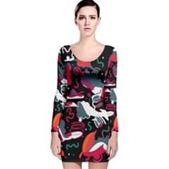 Fly away  Long Sleeve Velvet Bodycon Dress