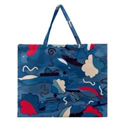 Ocean Zipper Large Tote Bag