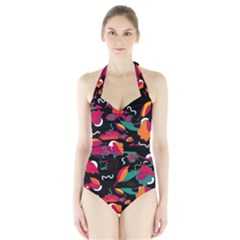 Colorful abstract art  Halter Swimsuit