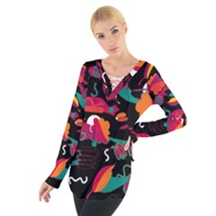 Colorful abstract art  Women s Tie Up Tee