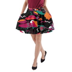 Colorful abstract art  A-Line Pocket Skirt