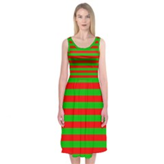 Pattern Lines Red Green Midi Sleeveless Dress