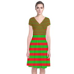 Pattern Lines Red Green Short Sleeve Front Wrap Dress